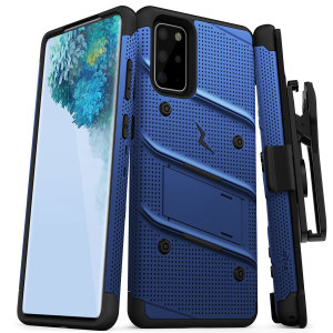Equip your Samsung Galaxy S20 Plus with military-grade protection and superb functionality with the ultra-rugged Bolt case in blue from Zizo. Coming complete with a handy belt clip and integrated kickstand.