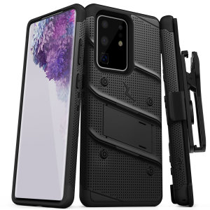 Equip your Samsung Galaxy S20 Ultra with military-grade protection and superb functionality with the ultra-rugged Bolt case in black from Zizo. Coming complete with a handy belt clip and integrated kickstand.