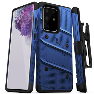 Equip your Samsung Galaxy S20 Ultra with military-grade protection and superb functionality with the ultra-rugged Bolt case in blue from Zizo. Coming complete with a handy belt clip and integrated kickstand.