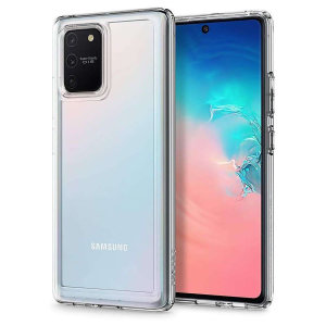 Protect your Samsung Galaxy S10 Lite with the unique Ultra Hybrid clear bumper from Spigen. Complete with a clear back and air cushion technology to show off and protect your S10 Lite sleek, modern design.
