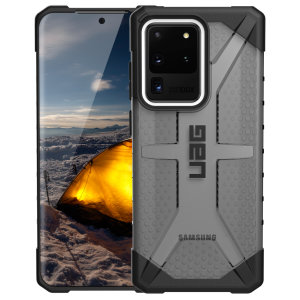 The Urban Armour Gear Plasma semi-transparent tough case in Ash grey for the Samsung Galaxy S20 Ultra features a protective case with a brushed metal UAG logo insert for an amazing rugged and stylish design.