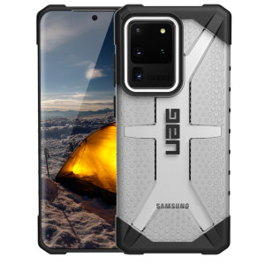 The Urban Armour Gear Plasma for the Samsung Galaxy S20 Ultra features a protective TPU case in ice grey with a brushed metal UAG logo insert for an amazing design and excellent protection from scrapes, bumps, and scratches.