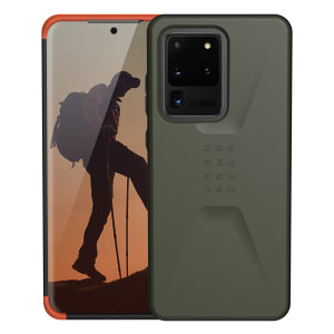 The UAG Civilian Case in olive for the Galaxy S20 Ultra features a classic tough-looking, composite design with a soft impact-absorbing core & hard exterior that provides superb protection in all situations. Compatible with Apple pay & wireless charging.