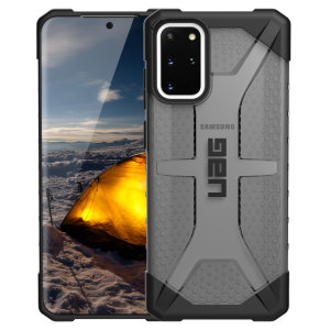 The Urban Armour Gear Plasma semi-transparent tough case in Ash grey for the Samsung Galaxy S20 Plus features a protective case with a brushed metal UAG logo insert for an amazing rugged and stylish design.