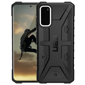 The Urban Armour Gear Pathfinder black rugged case for the Samsung Galaxy S20 features a classic tough-looking, composite design with a soft impact-absorbing core and hard exterior that provides superb protection in all situations.