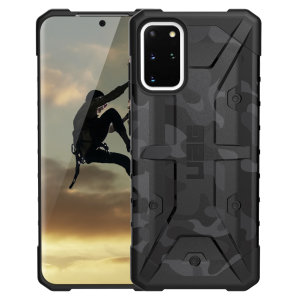 The Urban Armour Gear Pathfinder SE midnight camo rugged case for the Samsung Galaxy S20 Plus features a classic tough-looking, composite design with a soft impact-absorbing core and hard exterior that provides superb protection in all situations.