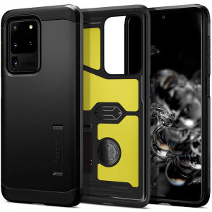 The Spigen Tough Armor in Black is the new leader in lightweight protective cases. The new Air Cushion Technology corners reduce the thickness of the case while providing optimal protection for your Samsung Galaxy S20 Ultra.