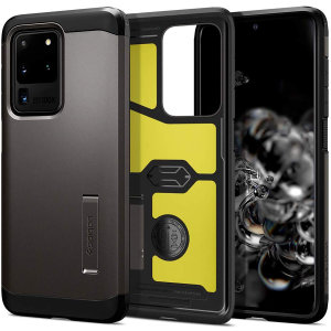 The Spigen Tough Armor in Gunmetal Grey is the new leader in lightweight protective cases. The new Air Cushion Technology corners reduce the thickness of the case while providing optimal protection for your Samsung Galaxy S20 Ultra.