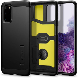 The Spigen Tough Armor in Black is the new leader in lightweight protective cases. The new Air Cushion Technology corners reduce the thickness of the case while providing optimal protection for your Samsung Galaxy S20 Plus.