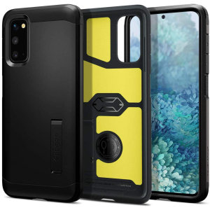 The Spigen Tough Armor in Black is the new leader in lightweight protective cases. The new Air Cushion Technology corners reduce the thickness of the case while providing optimal protection for your Samsung Galaxy S20.