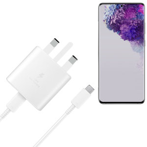 A genuine Samsung UK adaptive fast mains charger in White for your Samsung galaxy S20 Ultra. You can charge any compatible device at super fast speeds with the 45W charger.