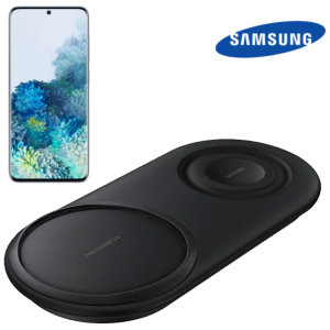 Wirelessly charge your Samsung galaxy S20 compatible smartphone with Wireless Fast Charge technology using this official Samsung Qi Duo Wireless Charging Pad in black.