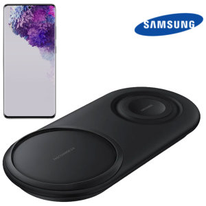 Wirelessly charge your Samsung galaxy S20 ultra compatible smartphone with Wireless Fast Charge technology using this official Samsung Qi Duo Wireless Charging Pad in black.