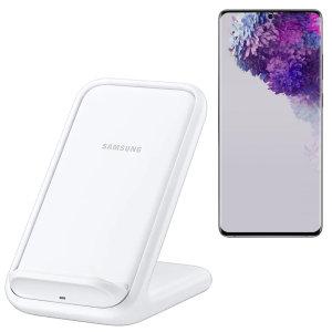 Laad uw draadloos compatibele Samsung Galaxy S20 Ultra snel op met de officiële snelle draadloze oplader 15W. Besteed minder tijd aan wachten tot uw telefoon is opgeladen met deze officiële Samsung snelle draadloze oplaadstandaard.