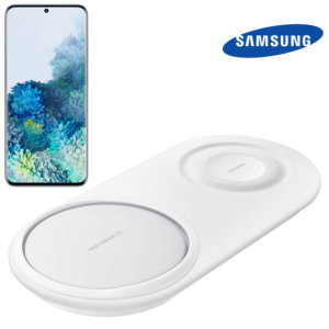 Wirelessly charge your Samsung galaxy S20 smartphone with Wireless Fast Charge technology using this official Samsung Qi Duo Wireless Charging Pad in white.