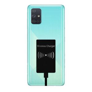 Habilitar carga inalámbrica para su galaxia de Samsung A71 dispositivo USB-C sin tener que reemplazar su cubierta posterior o el caso con este ultra fino de Qi Wireless adaptador de carga.