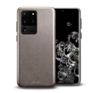 Crafted from premium genuine leather, this exquisite grey case from Olixar for the Samsung Galaxy S20 Ultra provides stunning style and prestigious protection for your phone in a slim and sleek package.