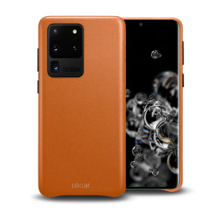 Crafted from premium genuine leather, this exquisite brown case from Olixar for the Samsung Galaxy S20 Ultra provides stunning style and prestigious protection for your phone in a slim and sleek package.