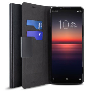 Protect your Sony Xperia 1 II with this durable and stylish black leather-style wallet case by Olixar. What's more, this case transforms into a handy stand to view media.