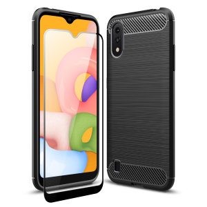 Flexible rugged casing with a premium matte finish non-slip carbon fibre and brushed metal design, the Olixar Sentinel case in black keeps your Samsung Galaxy A01 protected from 360 degrees with the added bonus of a tempered glass screen protector.