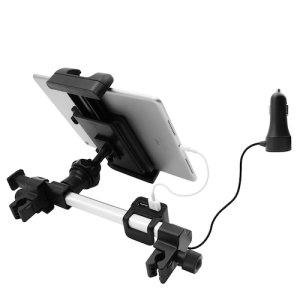 This Macally Car Headrest Mount is universal and works with a variety of smartphones & tablets. Strong safe and sturdy, this car mount also comes with a quad port car charging station so you can always stay juiced up. It has 3 USB-A & 1 USB-C Port.