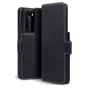 All the benefits of a wallet case but far more streamlined. The Olixar Slim Genuine Leather case in black is the perfect partner for the the Huawei P40 Pro owner on the move. What's more, this case transforms into a handy stand to view media.