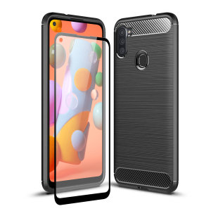 Flexible rugged casing with a premium matte finish non-slip carbon fibre and brushed metal design, the Olixar Sentinel case in black keeps your Samsung Galaxy A11 protected from 360 degrees with the added bonus of a tempered glass screen protector.