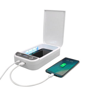Introducing the 4smarts MyGuard phone Sterilizer and charger. Featuring UV lights, MyGuard cleanses your phone from bacteria and viruses, while also having the capability of charging your phone at the same time.