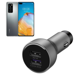 A genuine Huawei fast charging dual USB car charger in silver for the Huawei P40. Incredibly stylish and fast, this charger is a must-have, thanks to its sleek design and super fast charging rates. Includes an Official Huawei USB-C Cable.