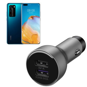 A genuine Huawei fast charging dual USB car charger in silver for the Huawei P40 Pro. Incredibly stylish and fast, this charger is a must-have, thanks to its sleek design and super fast charging rates. Includes an Official Huawei USB-C Cable.