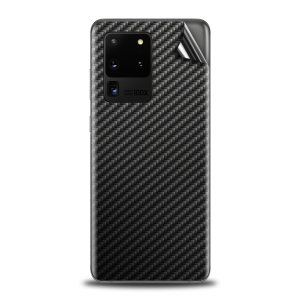 Olixar Samsung Galaxy S20 Ultra Phone Skin - Black Carbon Fibre