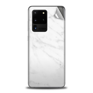Protect your Samsung Galaxy S20 Ultra in sleek style with the Olixar Marble Skin in White. This Skin is completely scratch resistant & ultra-thin finished a premium marble finish leaving behind no residue. This skin will make you stand out from the crowd!
