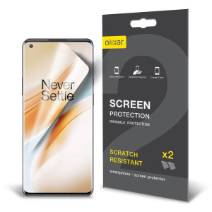 Keep your OnePlus 8 Pro screen in pristine condition with this Olixar scratch-resistant screen protector 2-in-1 pack.