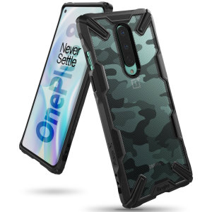 Keep your OnePlus 8 protected from bumps and drops with the Rearth Ringke Fusion X Design tough case in Camo Black. Featuring a 2-part, Polycarbonate design, this case lives up to military drop-test standards whilst being incredibly stylish.