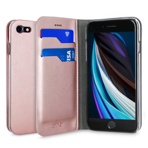 Protect your iPhone SE 2020 with this durable and stylish rose gold leather-style wallet case from Olixar, featuring two card slots. What's more, this case transforms into a handy stand to view media.