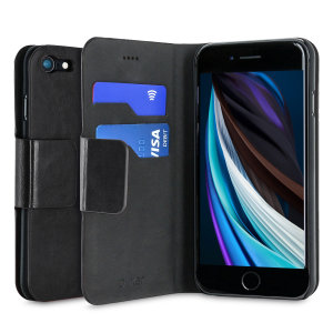 Protect your iPhone SE 2020 with this durable and stylish black leather-style wallet case from Olixar, featuring two card slots. What's more, this case transforms into a handy stand to view media.