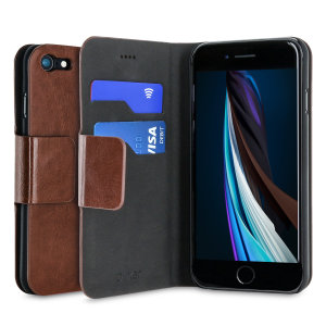 Protect your iPhone SE 2020 with this durable and stylish brown leather-style wallet case from Olixar, featuring two card slots. What's more, this case transforms into a handy stand to view media.