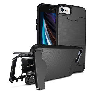 Prepare your iPhone SE 2020 for the great outdoors with the rugged Olixar X-Ranger case in tactical black. With a handy kickstand and a secure compartment for the included multi-tool - or the card of your choice - you'll be ready for anything.