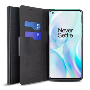 Olixar Leather-Style Oneplus 8 Wallet Stand Case - Black