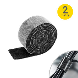 Olixar Velcro Strip Roll for Cable Management - 2m Black