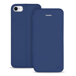 Olixar Soft Silicone iPhone SE 2020 Wallet Case - Navy Blue