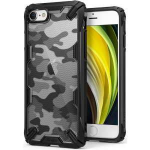 Keep your iPhone SE 2020 protected from bumps and drops with the Rearth Ringke Fusion X Design tough case in Camo Black. Featuring a 2-part, Polycarbonate design, this case lives up to military drop-test standards whilst being incredibly stylish.