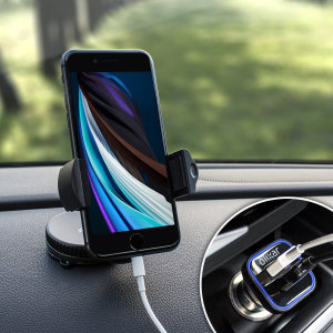 The perfect in-car accessory pack for your iPhone SE 2020. Featuring a case compatible car holder mount, a 3.1 amp USB car charger and a 1m Lightning cable; you'll have everything you need to hold and charge your phone while driving.