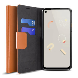 Protect your Google Pixel 4a with this durable and stylish brown leather-style wallet case by Olixar. What's more, this case transforms into a handy stand to view media.