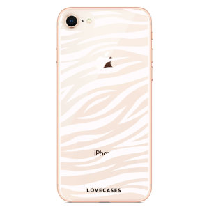 LoveCases iPhone SE 2020 Zebra Phone Case - Clear White