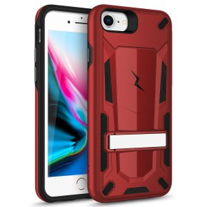 Protect your iPhone SE 2020 from bumps and scrapes with this Red/Black Zizo Transform case. Comprised of an inner TPU case and an outer impact-resistant shell, the Zizo Hybrid Transformer Case offers a sturdy and robust protection for your phone.