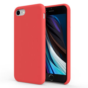 Custom moulded for the iPhone SE 2020, this red soft silicone case from Olixar provides excellent protection against damage as well as a slimline fit for added convenience.