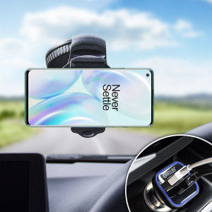 Essential items you need for your smartphone during a car journey all within the Olixar DriveTime In-Car Pack. Featuring a robust one-handed phone car mount and car charger with an additional USB port for your OnePlus 8.