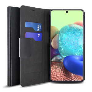 Protect your Samsung Galaxy A71 5G with this durable and stylish black leather-style wallet case by Olixar. What's more, this case transforms into a handy stand to view media.