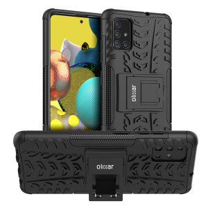 Protect your Samsung Galaxy A51 5G from bumps and scrapes with this black ArmourDillo case from Olixar. Comprised of an inner TPU case and an outer impact-resistant exoskeleton, with a built-in viewing stand.